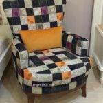 portakal rengi yastıklı modern berjer 90