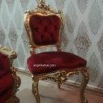 kırmızı varaklı sandalye